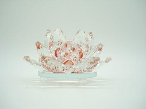 Flor De Lótus De Cristal Vermelha 10cm  - Presente Presente