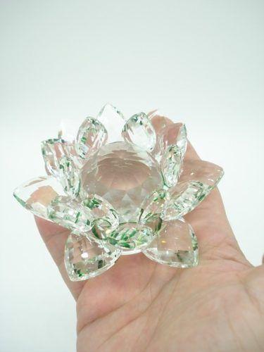 Flor De Lótus De Cristal Transparente Verde 10cm  - Presente Presente