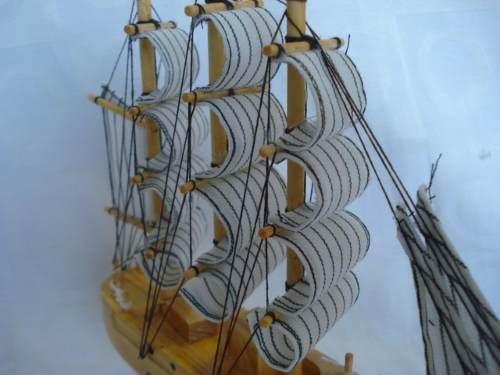 Barco Caravela Veleiro Madeira Tecido Decorativa Presente  - Presente Presente