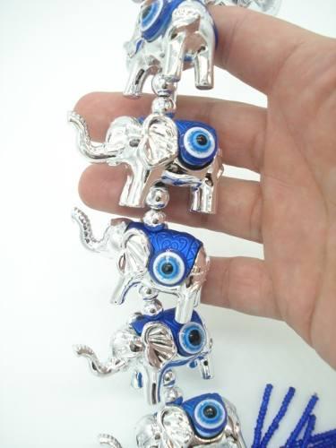Enfeite Mobile 7 Elefantes Olho Grego Miçangas  - Presente Presente