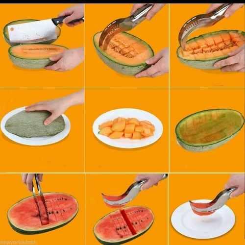 40 Peças Cortador Fatiador De Melancia Frutas Aço Inox  - Presente Presente