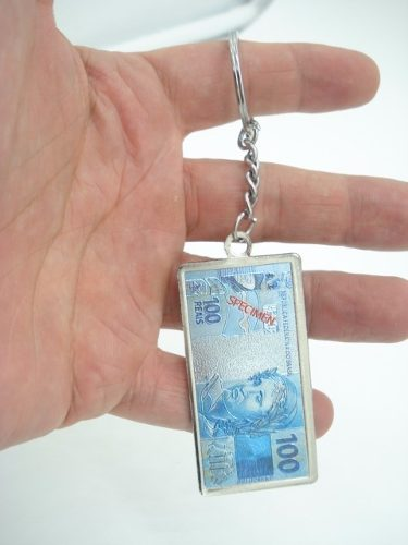 Chaveiro Metal Cédula Nota De 100 Reais  - Presente Presente
