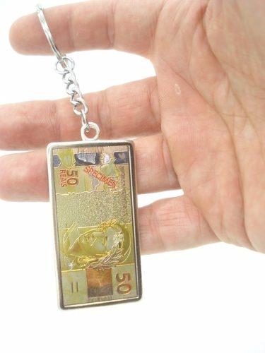 Chaveiro Metal Cédula Nota De 50 Reais  - Presente Presente