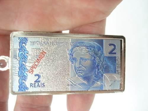 Chaveiro Metal Nota De 2 Reais  - Presente Presente