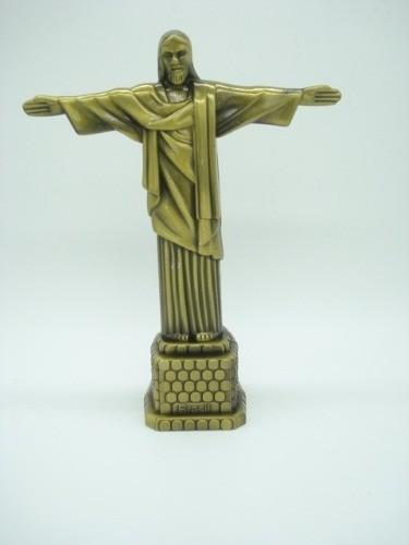 Miniatura Estatua Cristo Redentor Rio Metal Enfeite Luxo  - Presente Presente