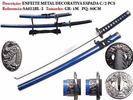 Espada Katana 2 Peças Dragão Ninja Azul Sa022bl-2  - Presente Presente