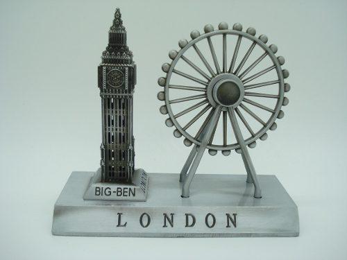 Miniatura Roda Gigante Big Ben Londres Prata Enfeite Luxo  - Presente Presente