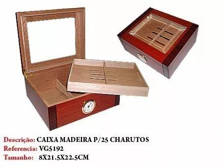 Umidificador Caixa 25un Charuto Madeira Importada 8x21x22cm  - Presente Presente