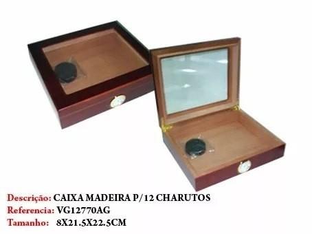 Caixa Para 12 Un Charuto Madeira Importada Medindo 8x21x22cm  - Presente Presente