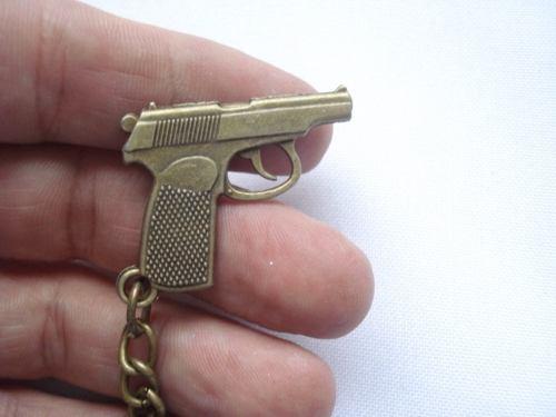 Chaveiro Mini Revolver Gun Militar Vintage  - Presente Presente