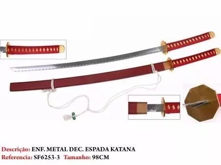 Espada Katana Vermelha Naruto Anime Sf6253-3  - Presente Presente