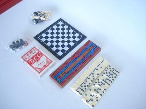 Kit 7jogos Xadrez Domino Dados Baralho Gamão Cribbage Damas  - Presente Presente