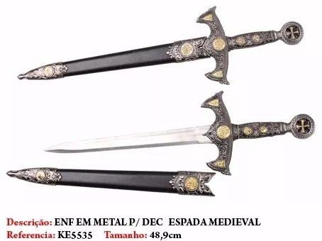 Espada Templaria Maçônica Com Cruz De Oito Pontas 49cm  - Presente Presente