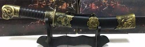Espada Miniatura Adaga Bainha Madeira Lamina Metal  - Presente Presente