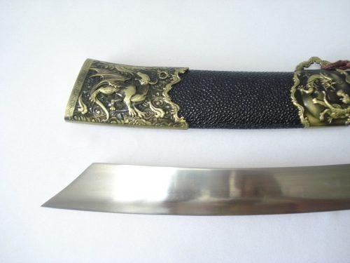 Espada Oriental 52cm Tigre E Dragão C Suporte Mesa  - Presente Presente