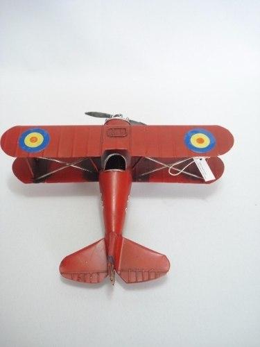 Avião De Guerra Miniatura Metal Vermelho 22cm  - Presente Presente