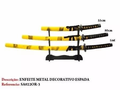 Conjunto Katanas Amarelas Com Suporte Mesa Gratis  - Presente Presente