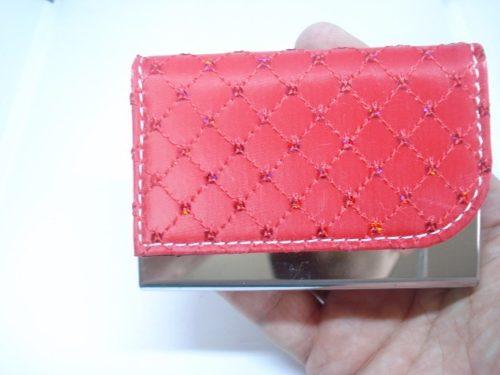 Porta Cartão Credito Visitas Vermelho Mini Lantejoulas  - Presente Presente