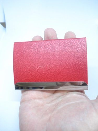 Porta Cartão Credito Visitas Vermelho C Placa Mini Carteira  - Presente Presente