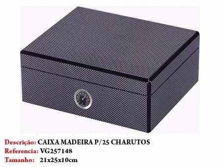 Caixa Umidificador 25 Un Charuto Madeira Importada 21x25x10  - Presente Presente