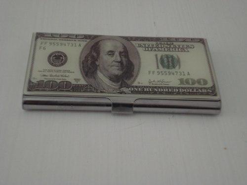 Porta Cartão De Visitas Dolar Inox   - Presente Presente