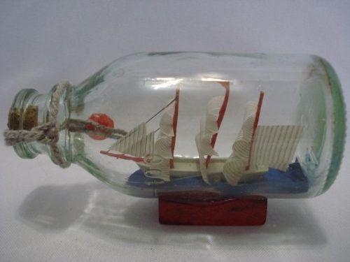 Barco Garrafa Caravela Veleiro Madeira Decorativa  - Presente Presente