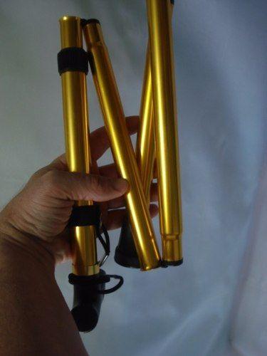 Bengala Dobrável Alumínio Regulável Caminhada Dourada  - Presente Presente