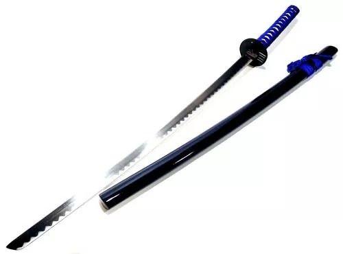 Espada Samurai Azul Lisa C/ Suporte Promoção  - Presente Presente