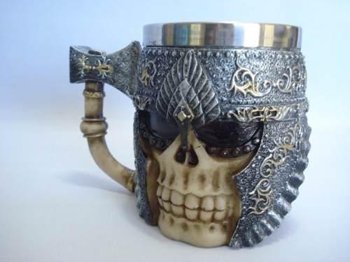 Caneca Vikings Resina Caveira Coleção  - Presente Presente