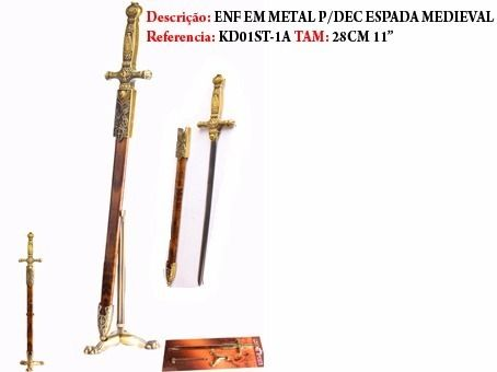 Mini Espada Medieval Abridor De Cartas Inox Kd01st-1a  - Presente Presente