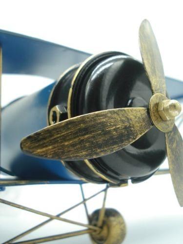 Avião De Guerra Miniatura Metal Azul 30cm  - Presente Presente