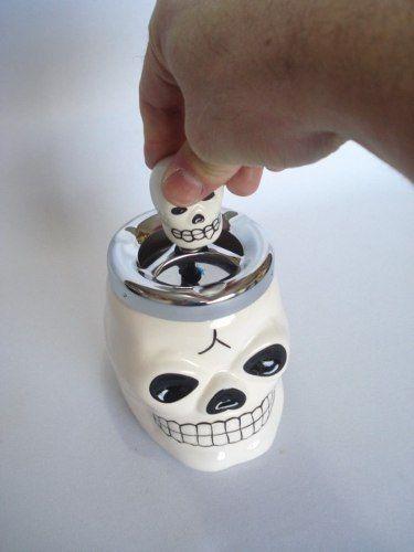 Cinzeiro Caveira Cranio Branco Decoração Esqueleto  - Presente Presente