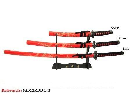 Espada 3 Peças Samurai Katana Japones Dragão  - Presente Presente