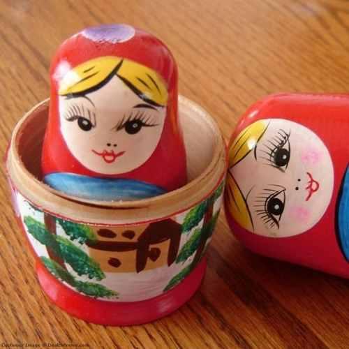 10 Peças Boneca Matryoshka Russa Vermelha 5 Peças Madeira  - Presente Presente