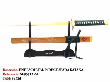 Espada Katana Samurai 81cm Golden C/ Suporte  - Presente Presente