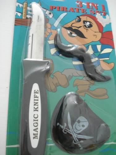 Canivete Faca Retrátil Pirata Com Tapa Olho Mágica Pegadinha  - Presente Presente