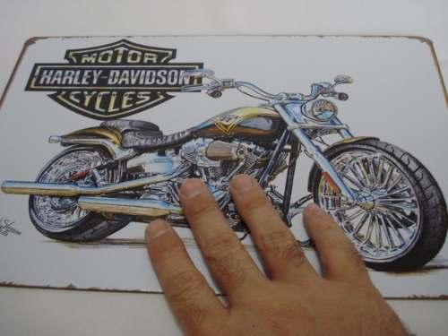 Placa Metal Harley Davidson Vintage 30x20 Decoração Coleção  - Presente Presente
