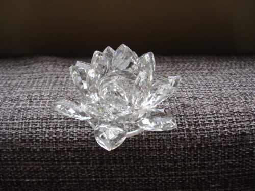 Flor De Lótus De Cristal Transparente 9cm  - Presente Presente