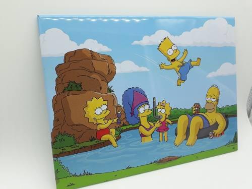 Placa Metal Os Simpson Familia Férias 26x20cm  - Presente Presente