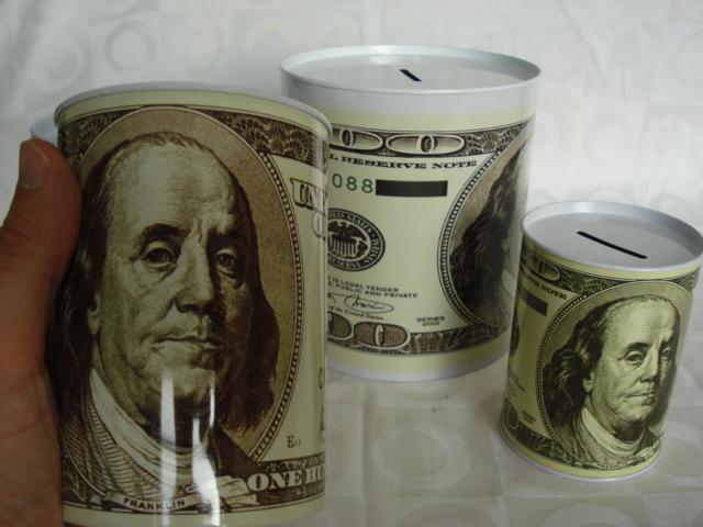 Cofre Lata Nota De Dolar Conjunto 4 Peças Cofrinho  - Presente Presente