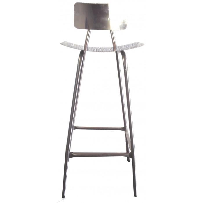 Cadeira fixa com encosto em aço inox
