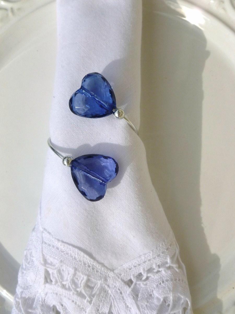 Porta-Guardanapos para casamento -Corações Azulados