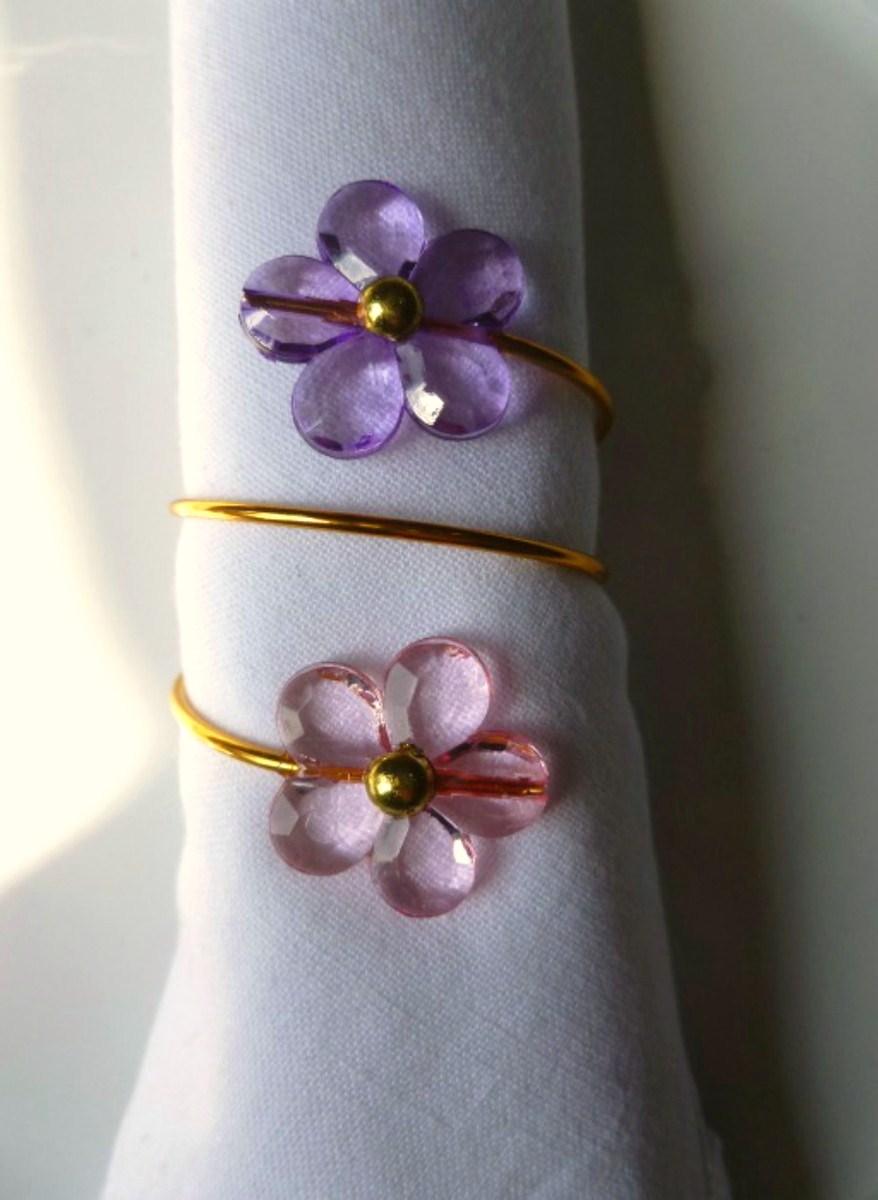 Porta-Guardanapos para casamento - Flores Rosa e Lilás