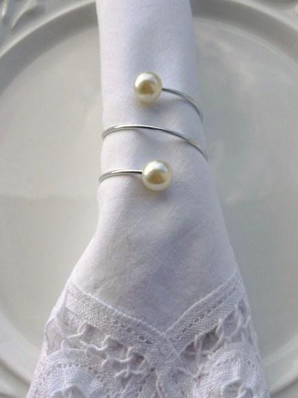 Porta-Guardanapo para casamento - 2 Pérolas Prata