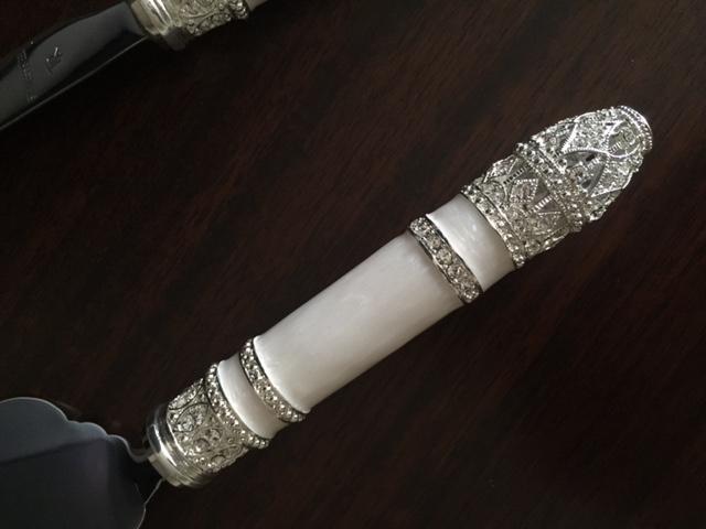 Faca e Espátula para Bolo de Casamento Precious II