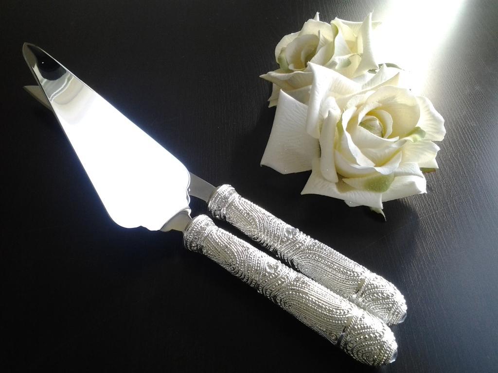 Faca e Espátula para Bolo de Casamento - Shine