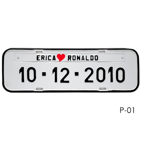 Placa de Carro Personalizada para Casamento - Prensada Branca P01