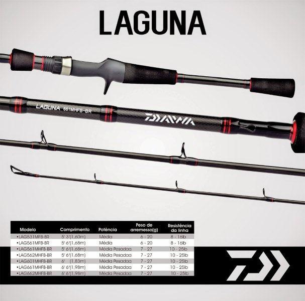 "Vara para carretilha Daiwa Laguna 5´6"" (1,68m) 25 Lbs - LAG562MHFB-BR - 02 partes  - MGPesca"