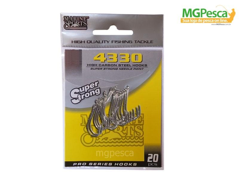 Anzol Marine Sports 4330 Nickel - 4/0 - 5/0 - 6/0 - Pacotes com 20 unidades  - MGPesca