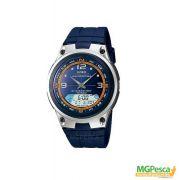 Relógio Casio Fishing Gear - Pesca E Fases Da Lua - Pulseira de borracha fundo azul - AW-82